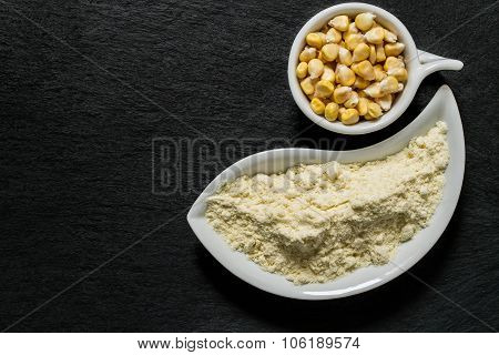 Corn Flour And Corn On The Surface Of The Shale