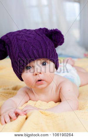 Cute little boy in knitting hat