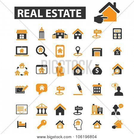 real estate, building, house, construction, contract icon & sign concept vector set for infographics, website