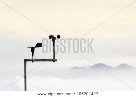 Anemometer Measures The Wind Speed At A Meteorological Station.
