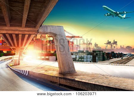 land transport run into shipping port and container dock with freight cargo plane flying above poster