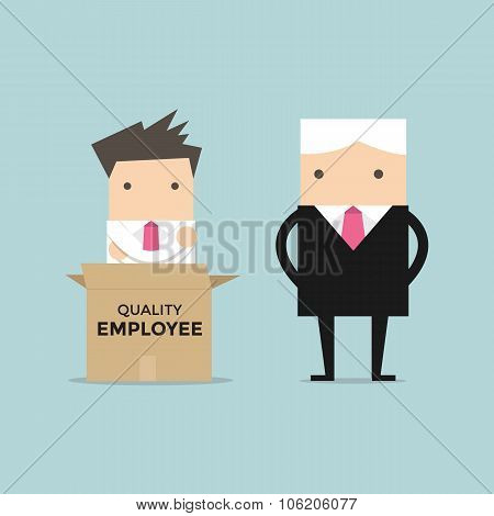 Manager unpack a box of quality employee