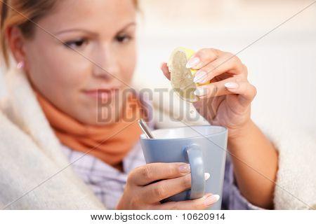 Young Woman Having Flu Drinking Tea Feeling Bad