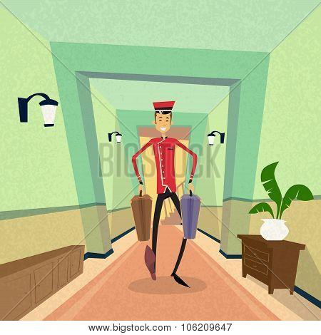 Bell Boy Carry Suitcase Indoor Hotel Porter