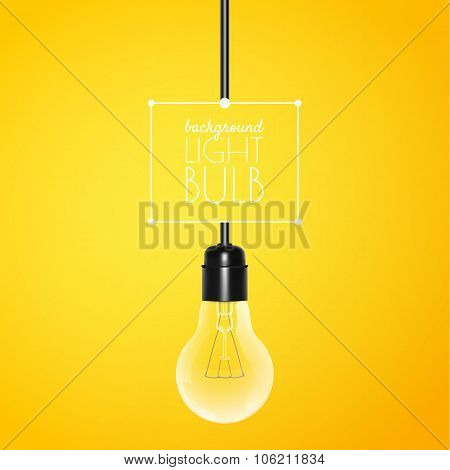 Hanging light bulb on a yellow background with copy space. Vector illustration for your design.
