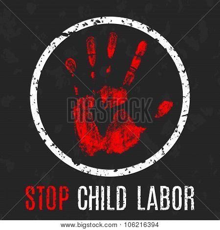 Vector conceptual illustration - Poster stop child labor poster
