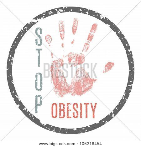 Vector conceptual illustration - Sticker stop obesity poster