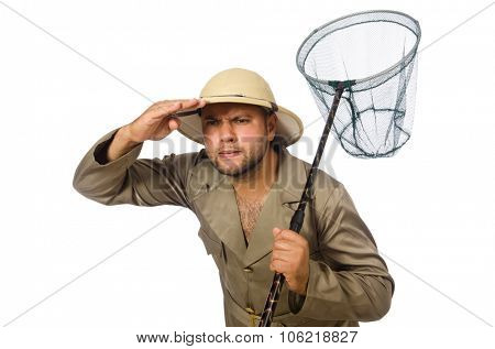 Man hunting for butterflies isolated on white