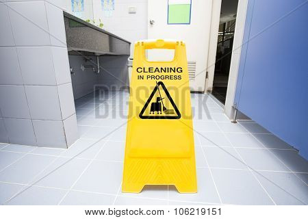 cleaning progress caution sign in toilet, housekeeper and business service poster