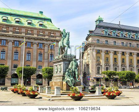 Gustav Adolfs Torg in Stockholm, Sweden.