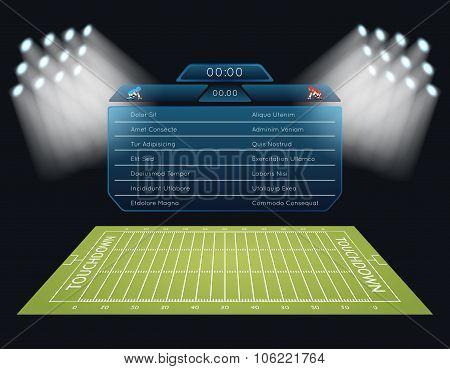 Realistic vector american football field with scoreboard
