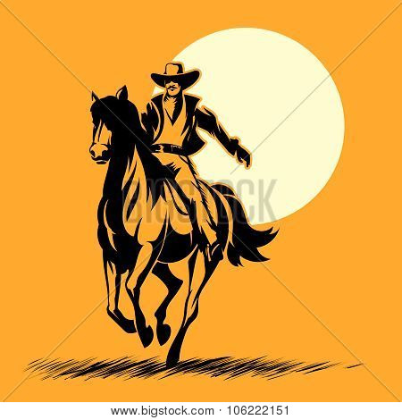 Wild west hero, cowboy silhouette riding horse at sunset
