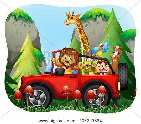 Wild animals riding on jeep illustration