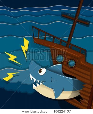 Shipwreck and shark attack underwater illustration