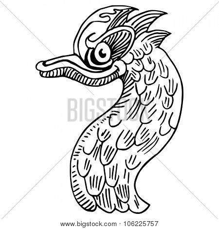An image of a wacky bird drawing.