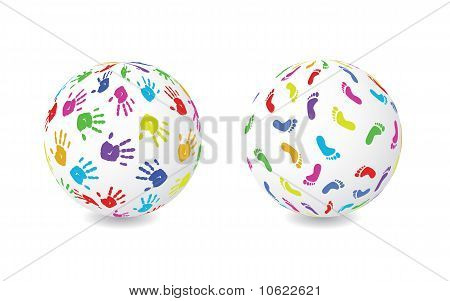 Hand And Foot Print Globe