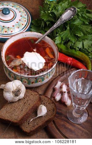 Vodka wine-glass borsch with sour cream and salty fat poster