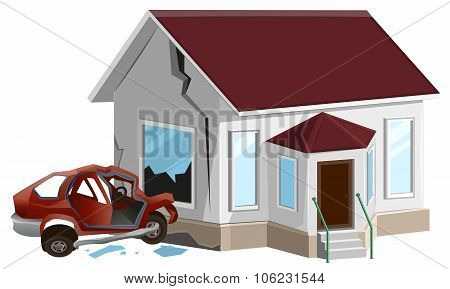 Car crash. Auto crashed into wall at home. Property insurance
