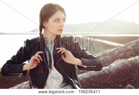 Beautiful Woman Climbing Into The Mountains