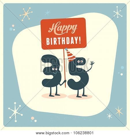 Vintage style funny 35th birthday Card.