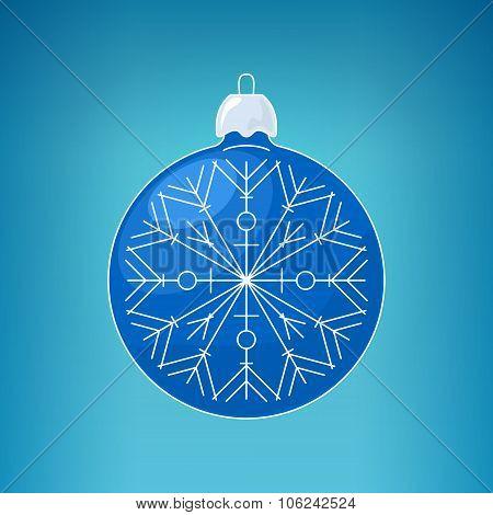 Christmas Blue Ball With Snowflake
