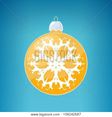 Yellow Ball With Snowflake