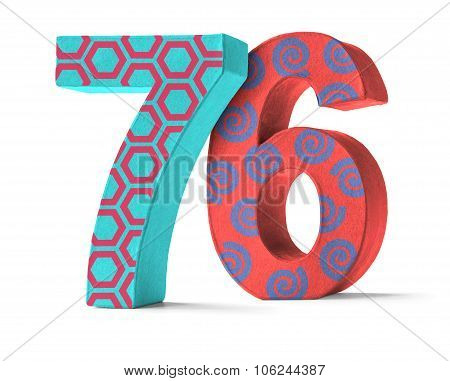 Colorful Paper Mache Number On A White Background  - Number 76