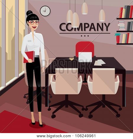 Business Woman Standing In Her Private Office