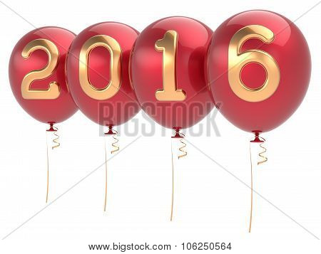 New 2016 Years Eve party balloons Christmas decoration happy wintertime traditional Marry Xmas celebrate adornment red golden. Future planning calendar date banner advertisement. 3d render isolated poster