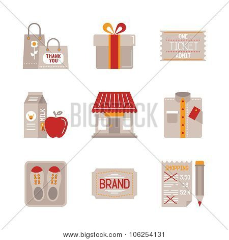 Shopping iconset in flat style - gift box, ticket, shop, clothes shoes & etc.