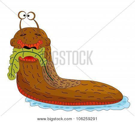 Cartoon Slug Eating Vegetation On A White Background.