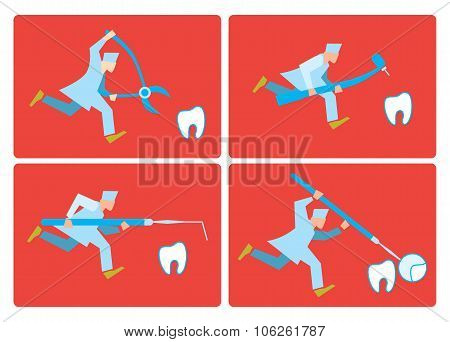 Allusion to topic of dentistry. Dentist runs quiet. Dental creative concept. Tooth, dentist, dental equipment. Dental care. Dentist going to treat teeth. Dentist on the work. Dentist cartoon character vector illustration. Dentist with special dental tools