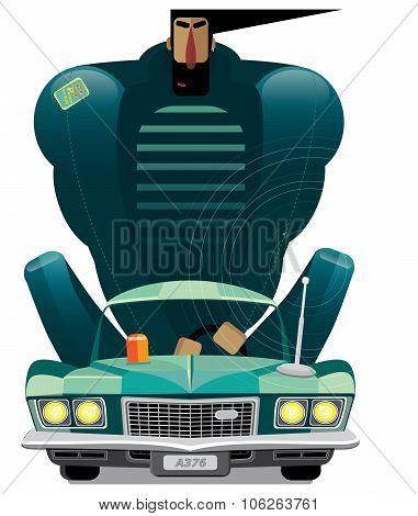 Man In Retro Car