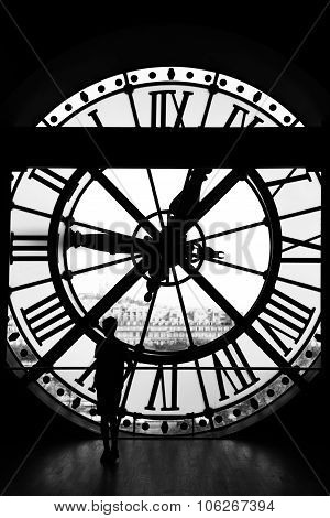 The Orsay Museum (musee D'orsay) Clock In Black & White, Paris, France