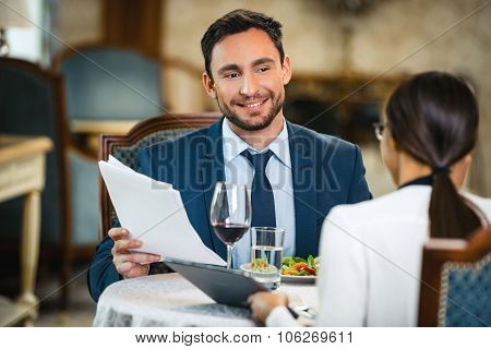 Concept for business meeting while dinner