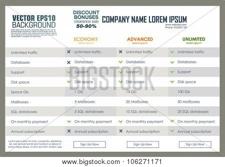 Vector pricing table template. Web banners boxes hosting plans. Pricing for web. Template with three type plan