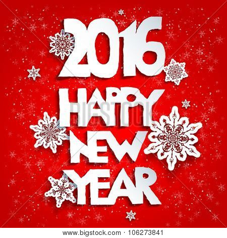 Happy new year red background. 2016 year.Happy new year. Design for card, banner, invitation, leaflet and so on.