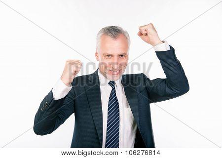 Old Confident Businessman Celebrating His Success