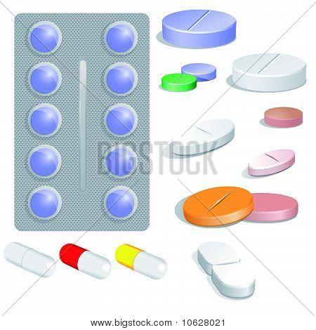 Set of vector pills