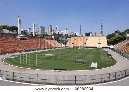 Pacaembu Stadium Soccer Field And Stands