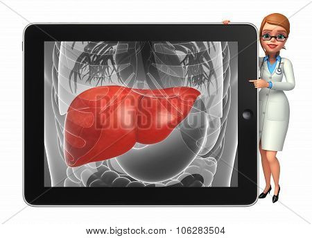Young Doctor With  Liver Anatomy
