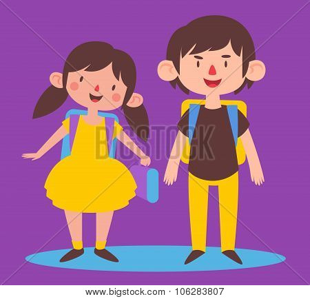 Cute Siblings Ready To Go Back To School
