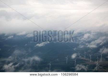 Windfarm Landscape View From Sky