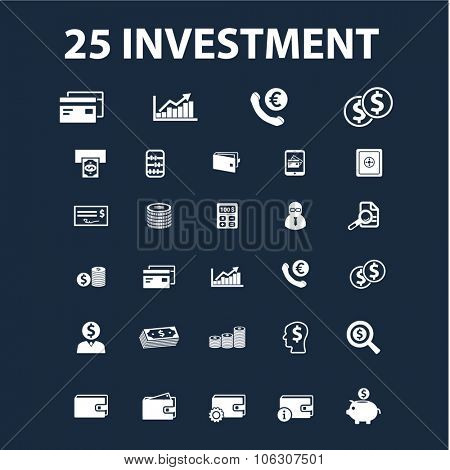 investment, finance, banking, credit, money icons set, vector for infographics, website
