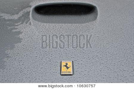 Ferrari logo on wet bonnet