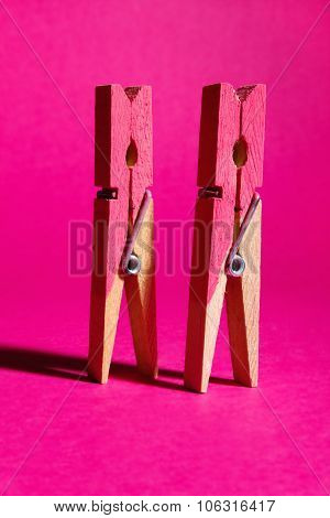 Pair Of Symbolic Pink Painted Pegs Standing On Pink Background