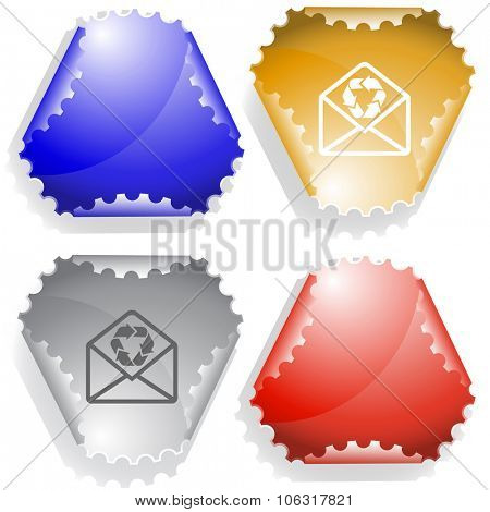 open mail with recycle symbol. Raster sticker.