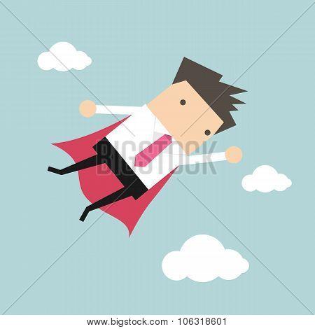 Businessman flying in sky