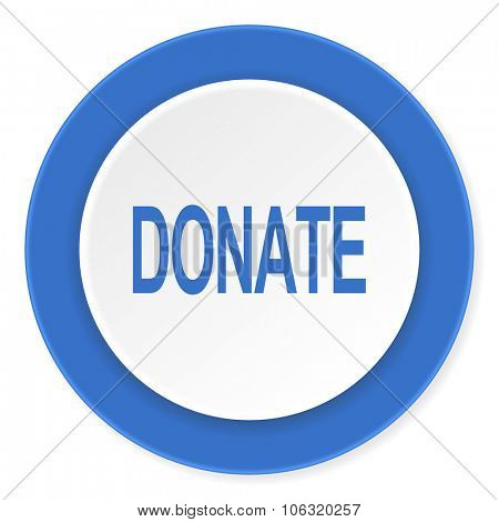 donate blue circle 3d modern design flat icon on white background