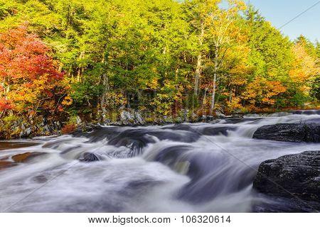 Mill Falls Along The Mersey River In Fall (kejimkujik National Park, Nova Scotia, Canada)
